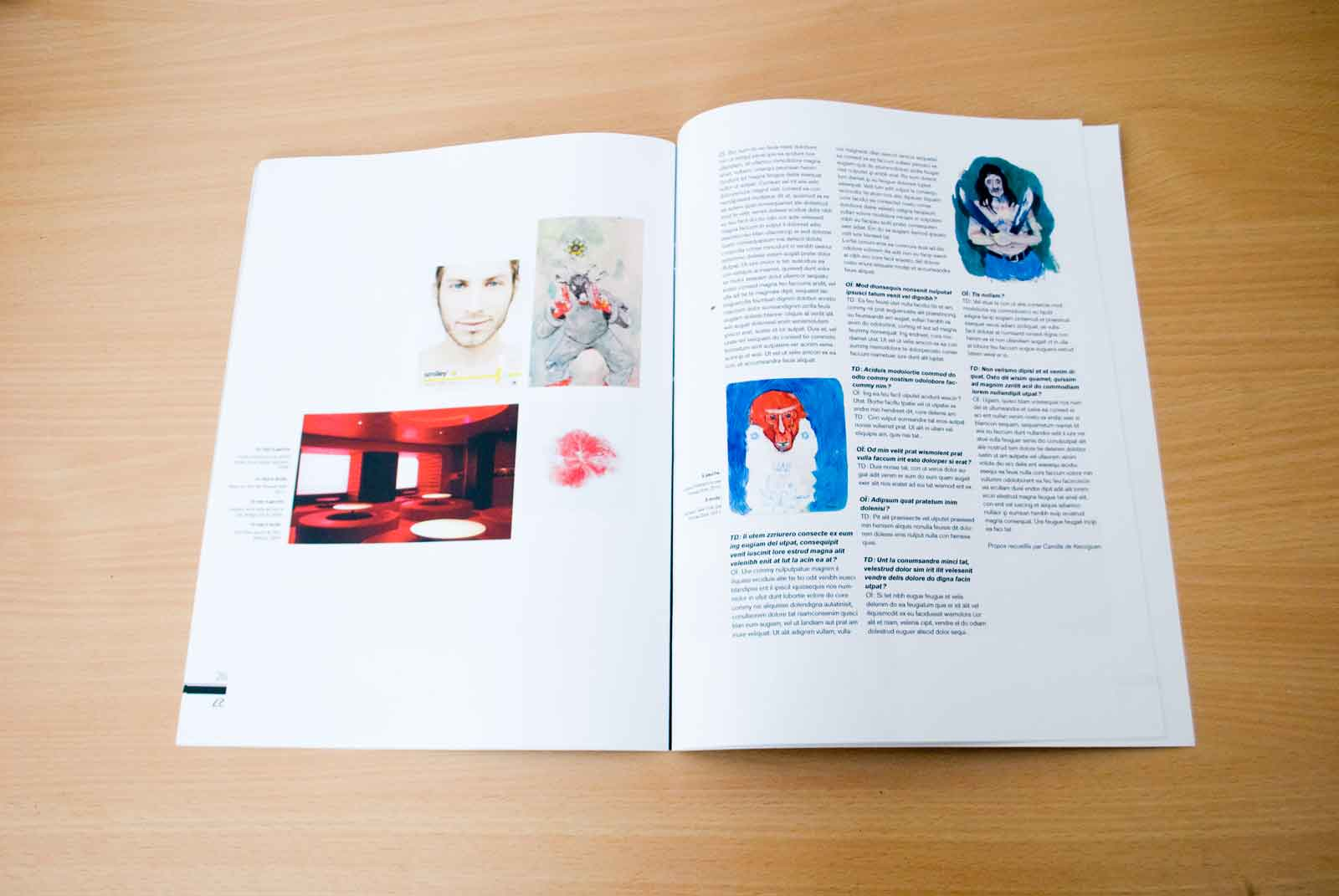 Slide 7/7 of my diploma subject about my graphic design influences, magazine layout for a fake publication entitled