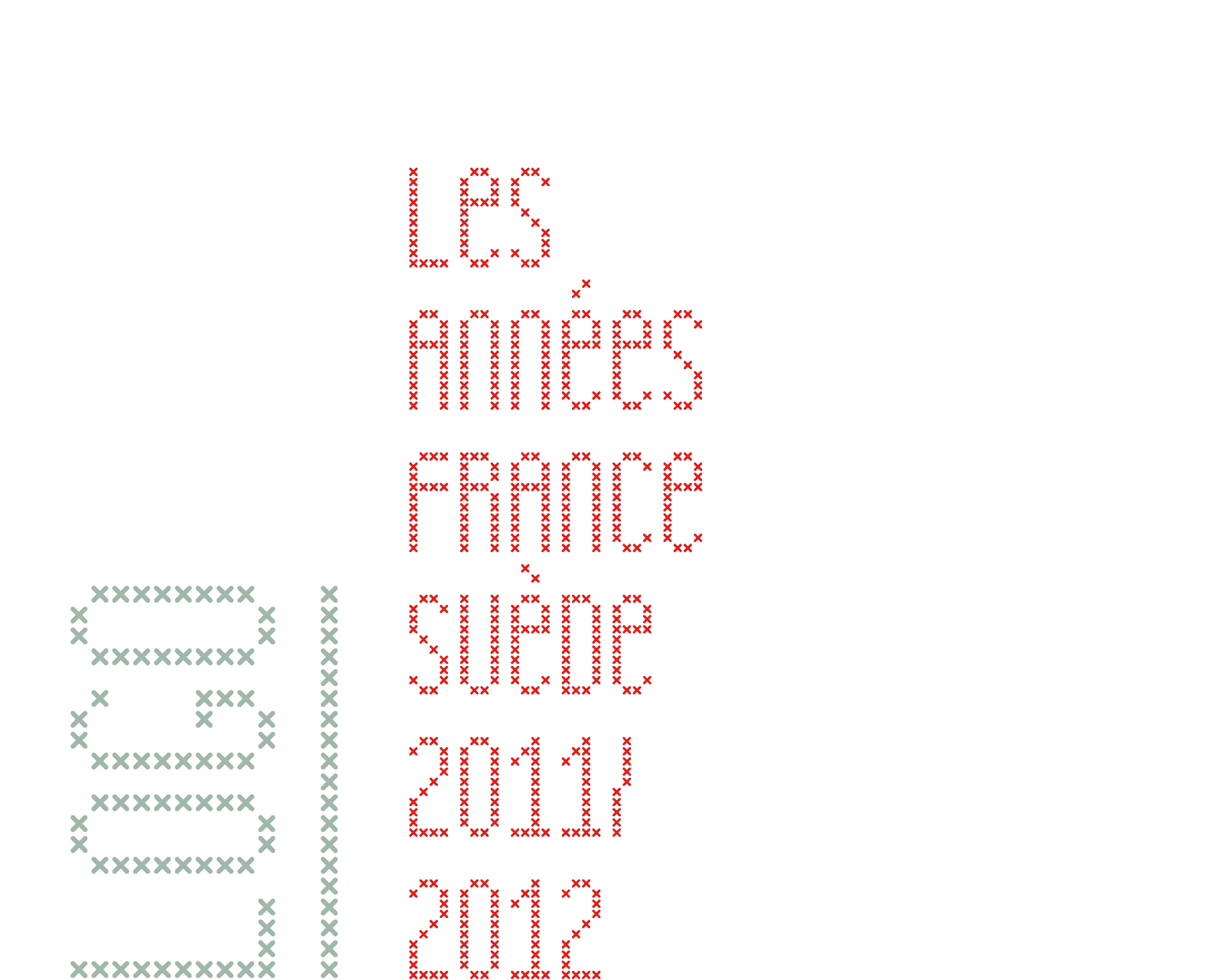 "Red cross-stitched logo of ""Année de la France en Suède"", a school assignment in typography class for a cultural exchange program between France and Sweden (the later was up to me to choose)."
