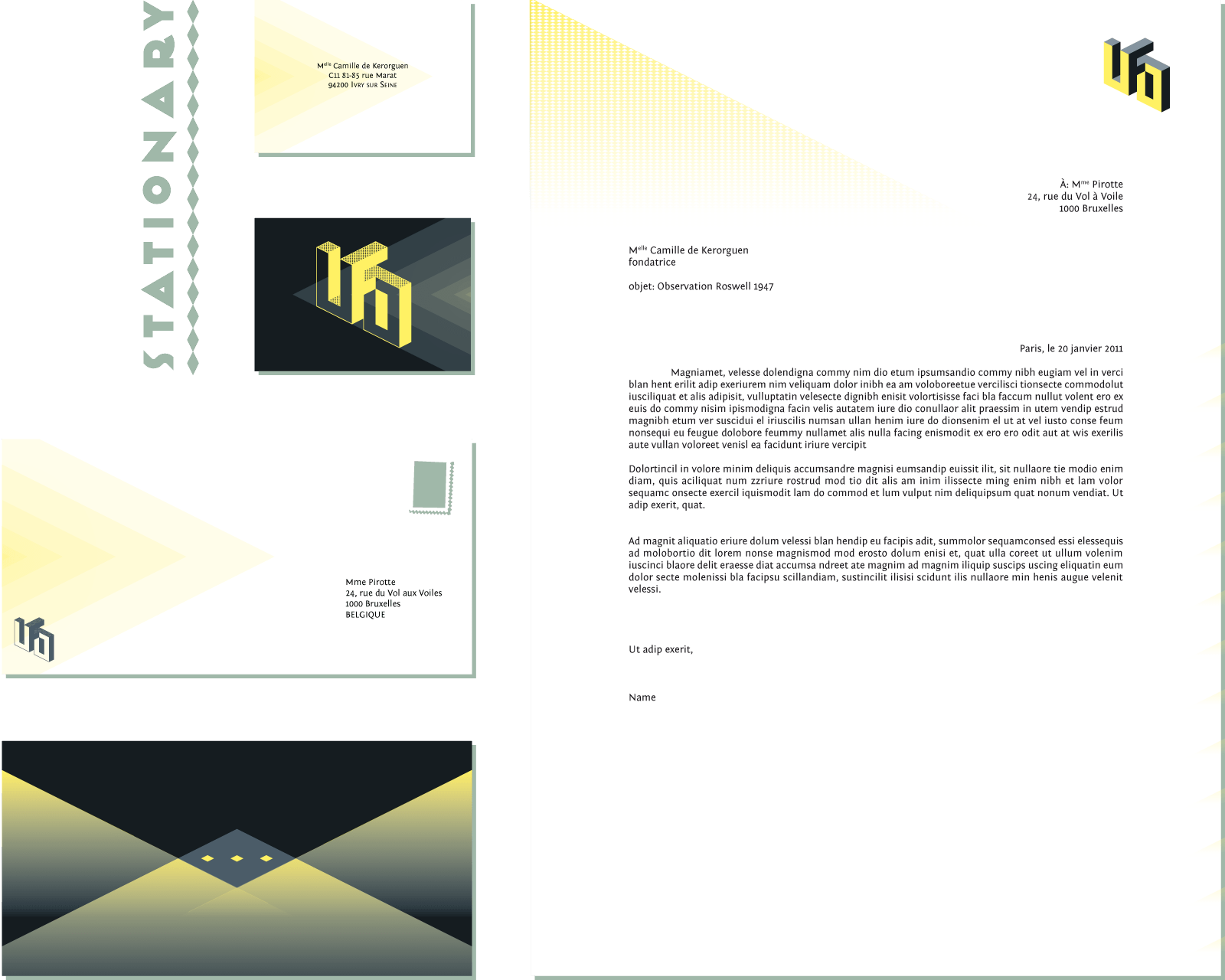 Stationary for a school assignement to create the whole visual identity for a fictive worker in the career field of our choice, here an ufologist.