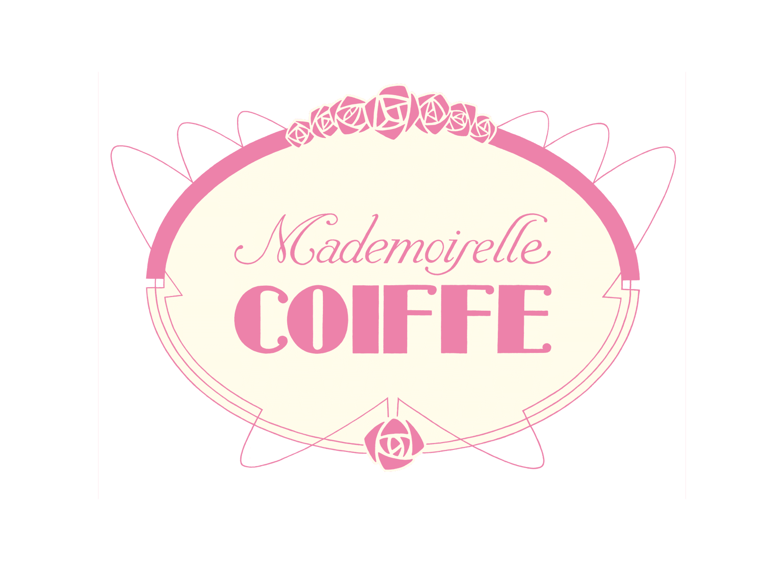 "Logo of ""Mademoiselle Coiffe!"", an hairdresser in Aix-en-Provence specializing in wedding vintage hairsets."