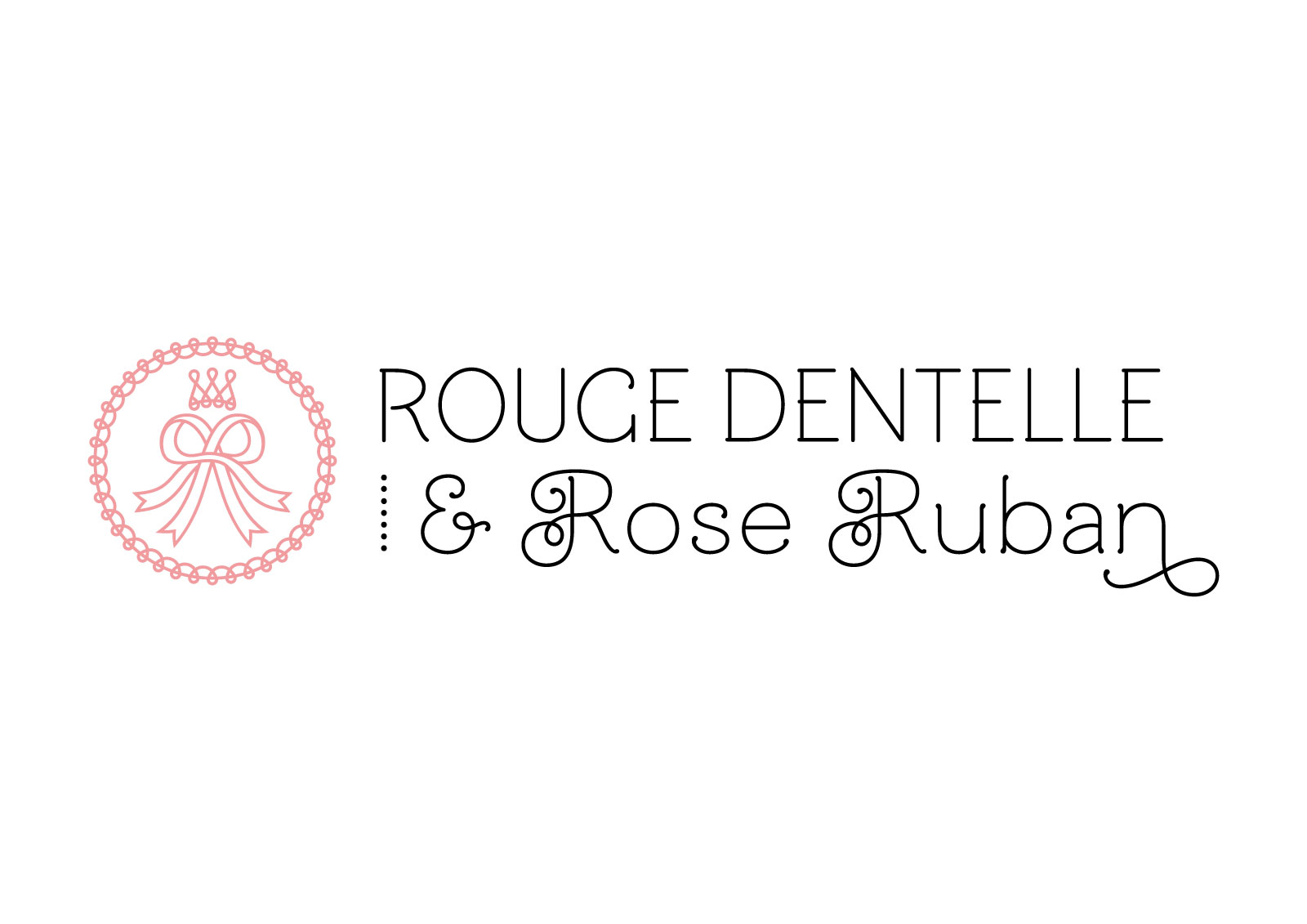 Rouge Dentelle & Rose Ruban horizontal logo