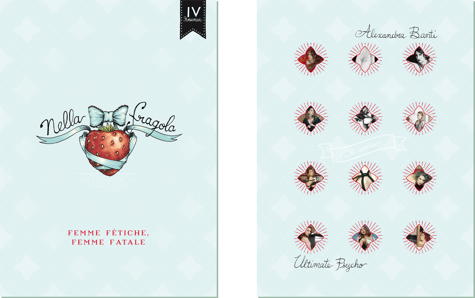 Nella Fragola Portfolio Folder Front and Back Cover, and base for her current visual identity.