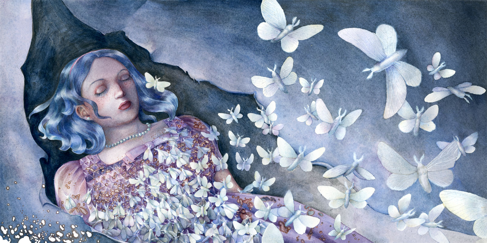 A blue-haired young girl lies dead with her features intacts, her purple dress eaten by a flock of moths that fly away from her body.