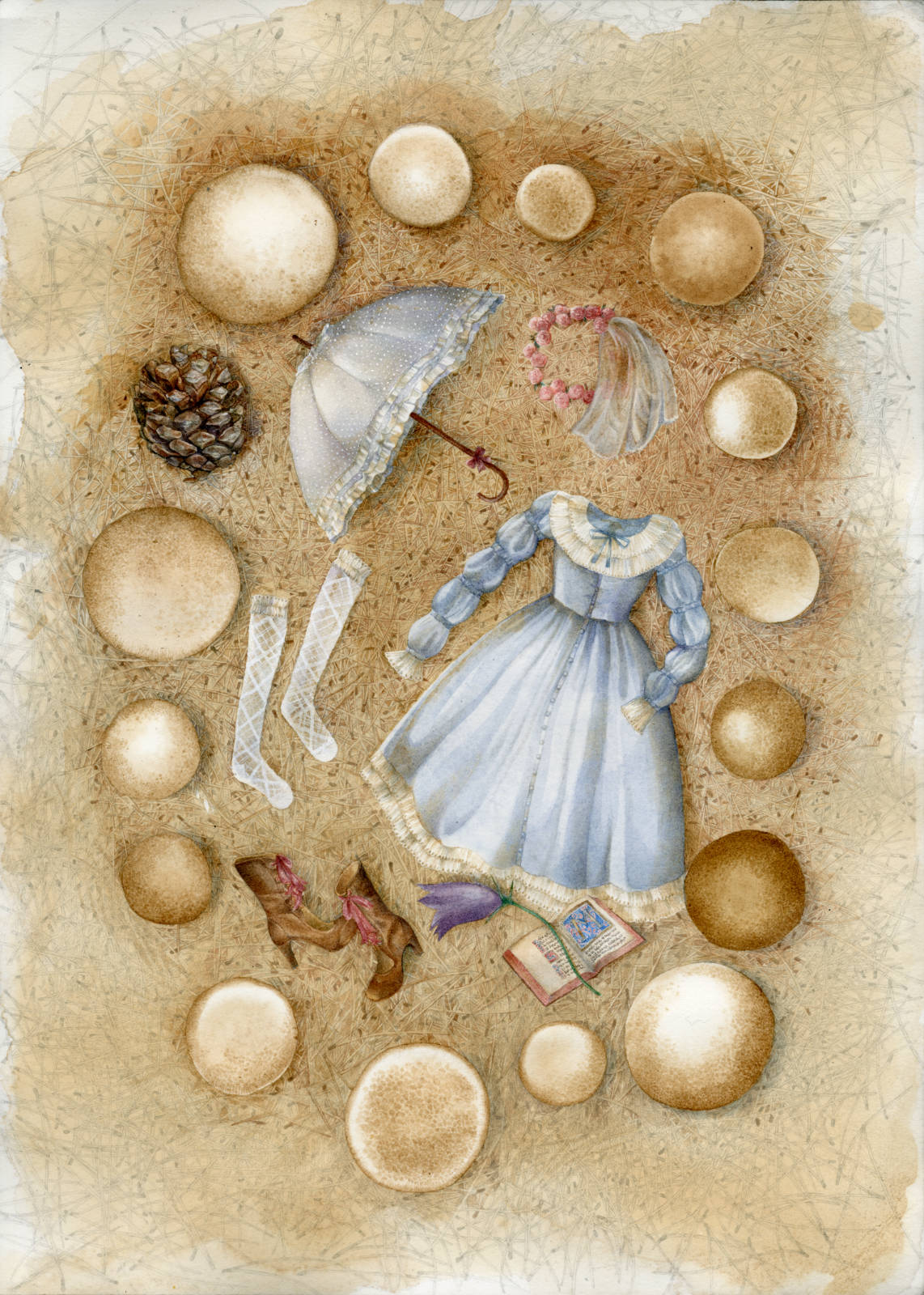 Fairy ring enclosing a fashionable composition of classic lolita clothing and interests laid on a pine needles bed, such as pine cones and bluebells collected in the wild, a medieval book with an illumination, boots, an umbrella and a flower crown.