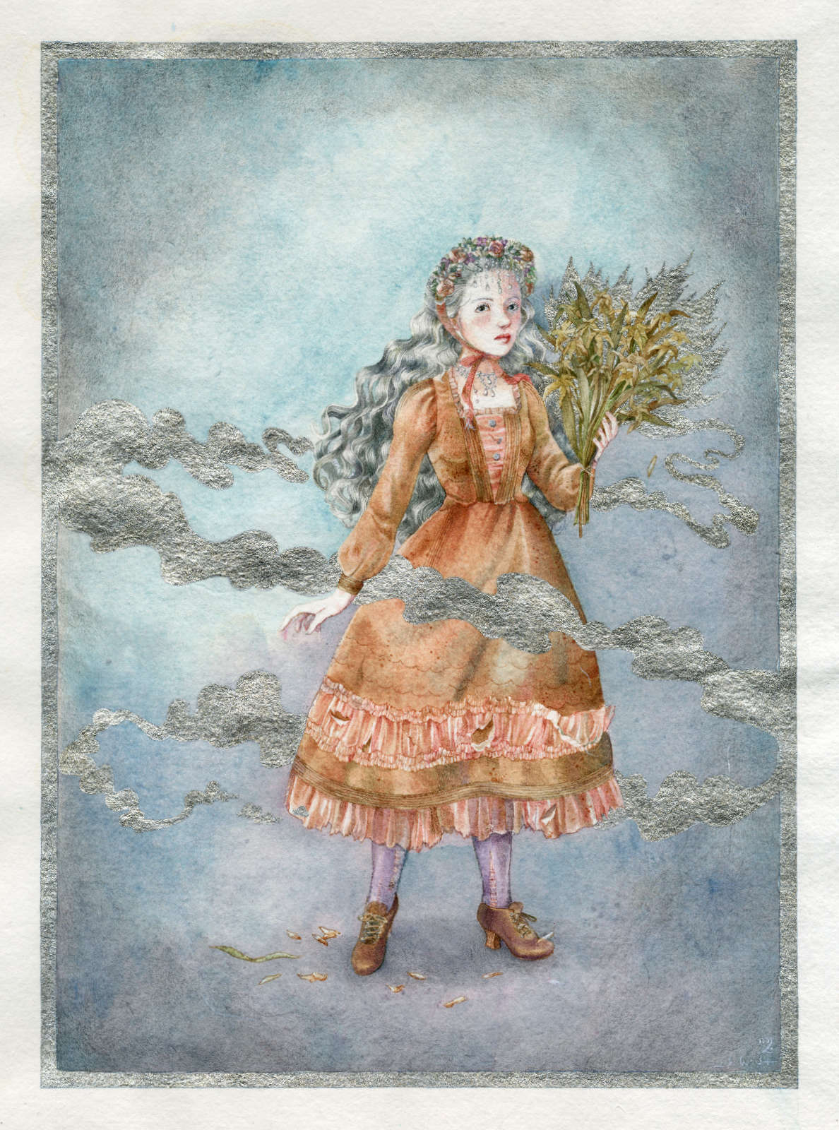 A young girl in a brown and pink Lolita dress holding up to flowers long past their prime but whose scent still lingers around, sanctified in silver ink.