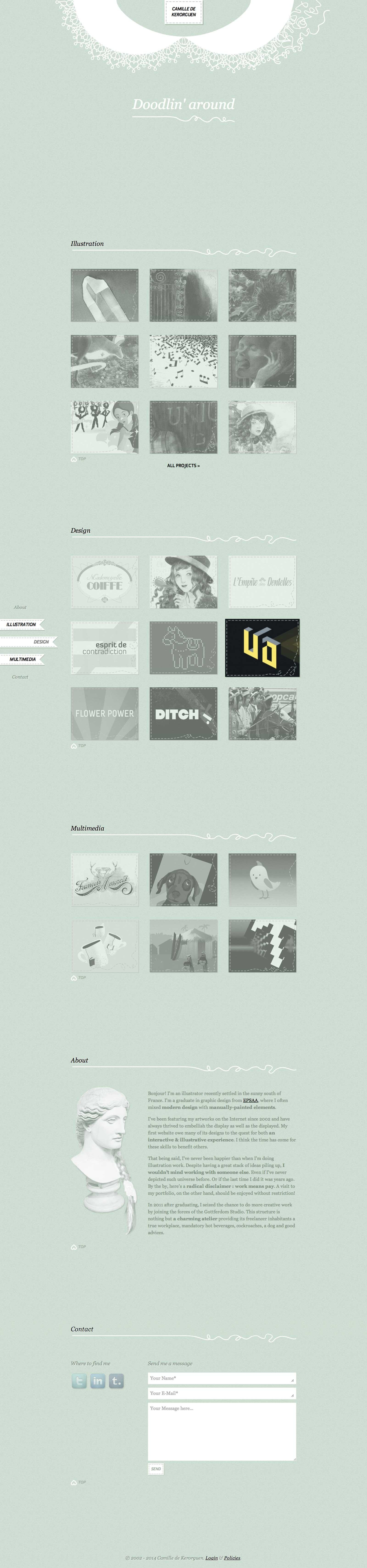 camilledekerorguen.fr, an illustration, graphic design and multimedia web portfolio for french, aix-en-provence based artist and designer Camille de Kerorguen (messalyn)